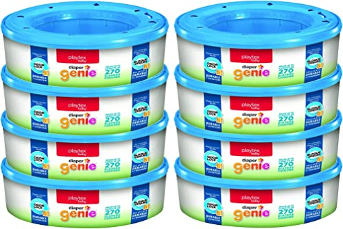 Playtex Diaper Genie Refill Bags, Ideal for Diaper Genie Diaper Pails, Registry Gift Set, Pack of 8, 2160 Count