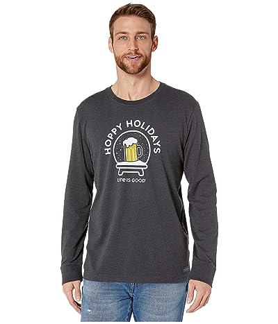 Life is Good Long Sleeve Crusher Hoppy Holidays T-Shirt (Heather Night Black) Men