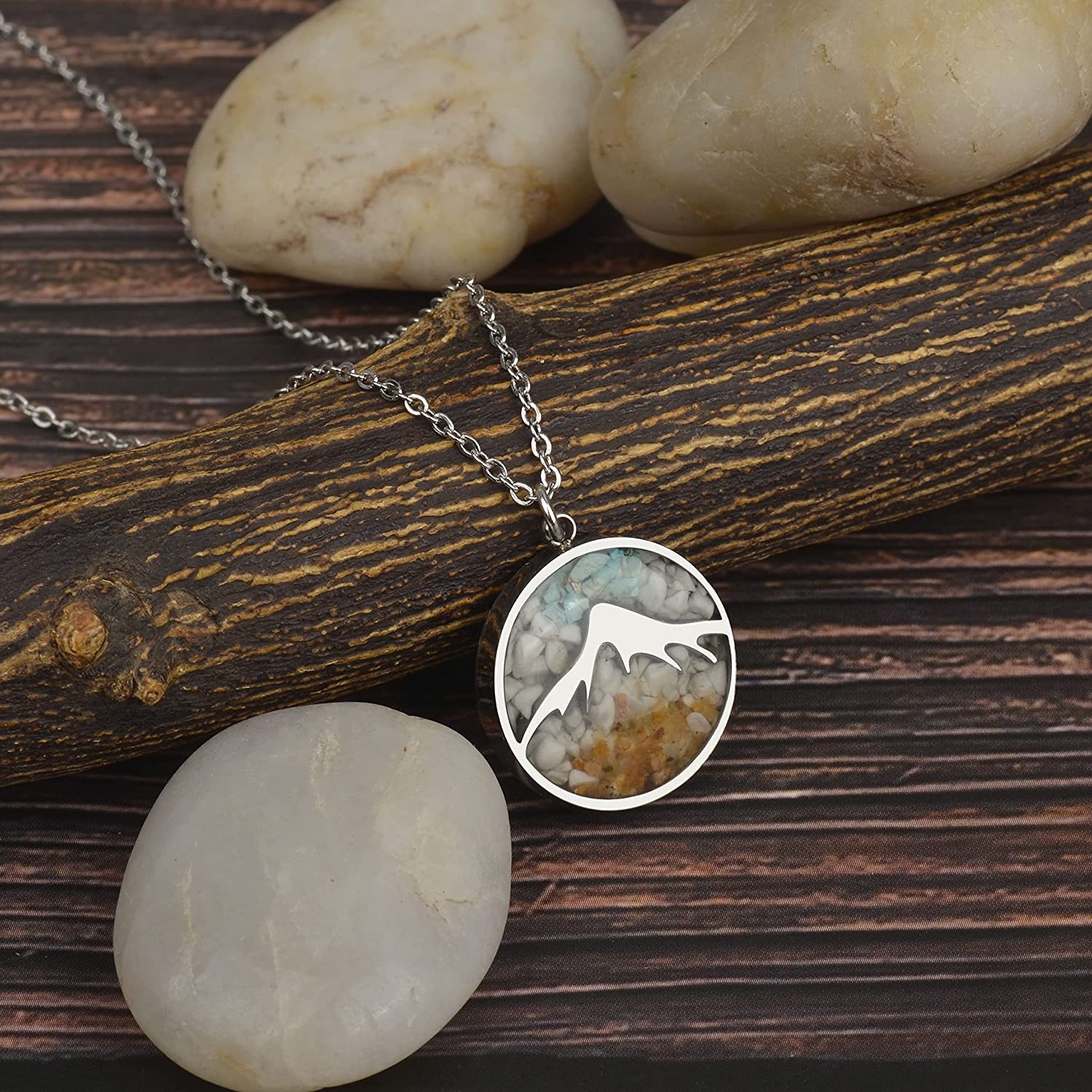 Lauren-Spencer Gemstone Mountain Necklace for Women White Howlite Turquoise Tumbled Chips Pendant Necklace Dainty Mountain Range Necklaces for Women Girls Nature Jewelry Gift