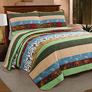 Cozy Line Home Fashions Eleonore Green Beige Striped Floral Flower Print Pattern 100% Cotton Quilt Bedding Set Reversible Coverlet Bedspread for Women (Boho Stripe, Queen -3 Piece)