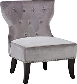 Simpli Home Kitchener Traditional 28 inch wide Accent Slipper Chair in Grey Velvet