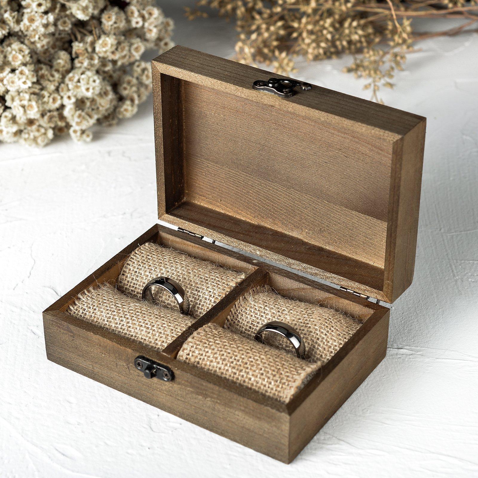 AW boda rústico anillo caja titular de madera anillo soporte joyas caja (favor regalo: Amazon.es: Hogar