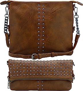 حقائب طويلة تمر بالجسم متوسطة للنساء خفيفة الوزن بني وأسود للنساء التي تتحول إلى حقائب كلاتش للنساء