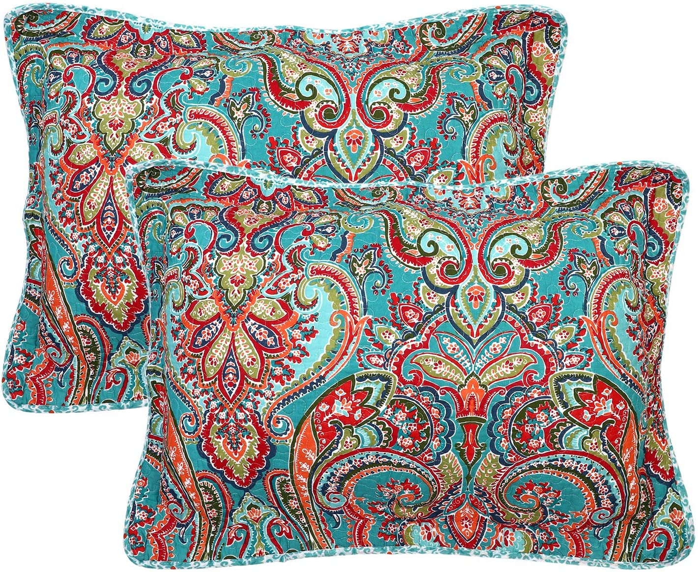 Newrara 100% Cotton Quilted Pillow Shams Set of 2 Standard Size Boho Pillow Cases Bohemian Pillow Covers (Red)