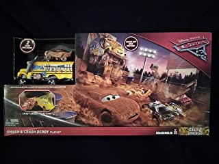 Disney Pixar Cars 3 Crazy 8 Crashers Smash & Crash Derby Playset With 2 Cars Included Lightning McQueen As Chester Whipplefilter & Miss Fritter New In Unopened Box