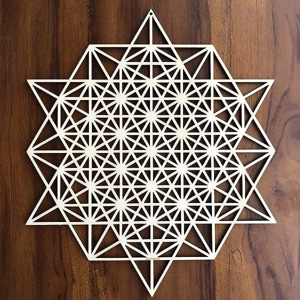 ZenVizion 13 5 64 Star Tetrahedron Wall Art Sacred Geometry Wall Art Wooden Wall Art Decor Yoga Wall Art Hanging Laser Cut Artwork Wall Sculpture Symbol Gift Purpose
