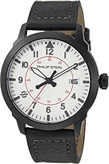 Philip Stein Men's Sky Finder Stainless Steel Japanese-Quartz Watch with Leather Strap, Black, 21 (Model: 700B-PLTWH-CSGRB)