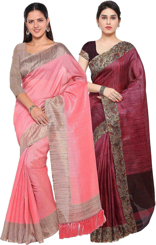 Rajnandini Women's Tussar Silk Printed Saree(JOPLNB3006F6003C_Combo Of 2)