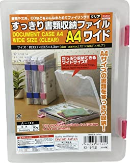 2 Pack Daiso Japan's Clear Plastic Document Case (A4) - Clear, Pink
