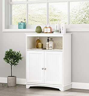 Spirich Home Bathroom Floor Cabinet with Double Shutter Doors and Adjustable Shelves, Freestanding Bathroom Storage Cabinet with Adjustable Shelf, White