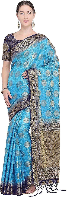 Rajnandini Women's Silk Kanjivaram Zari Weaving Work Rich Pallu Saree(NS2016B_Light bluee_Free Size)