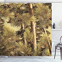 Ambesonne Pinecones Shower Curtain Decor by, Pinecones Tree Realtree Spring Summer Theme, Polyester Fabric Bathroom Shower Curtain Set with Hooks