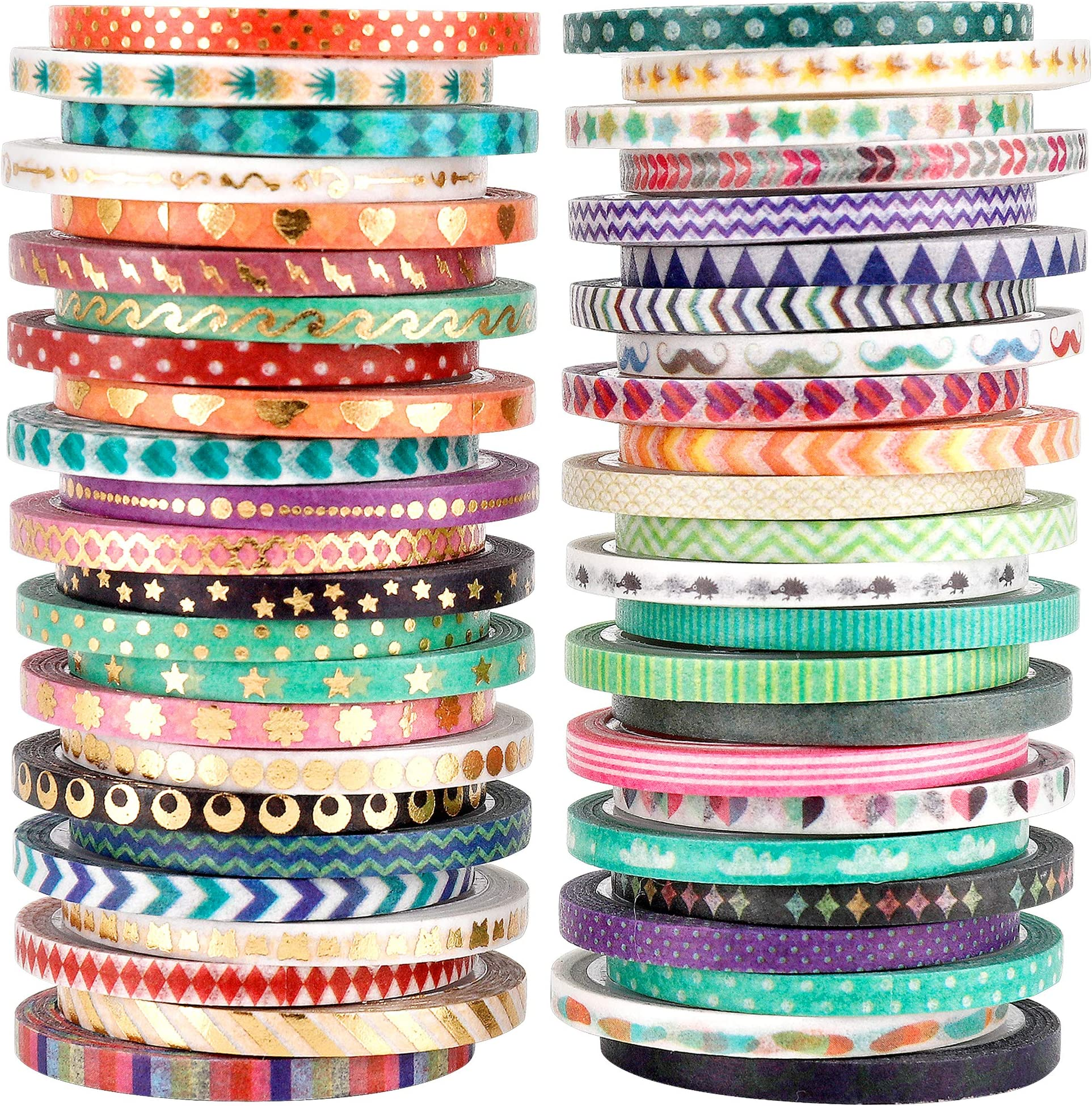 Cute 48 Rolls Washi Tape Set,Foil Gold Thin Decorative Masking Washi Tapes,3MM Wide DIY Paper Tape for DIY Craft Scrapbooking Gift Wrapping Planner