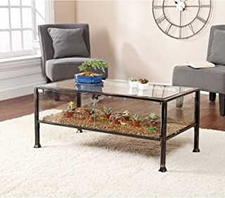 Terrarium Display Cocktail Coffee Table - Glass Display for Plants - Black and Silver Finish