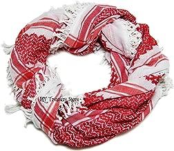 Red Shemagh Scarf Keffieh Kafiya Traditional Arab Checkered Shawl Neck Head Wrap