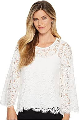 Flare Sleeve Scallop Lace Top