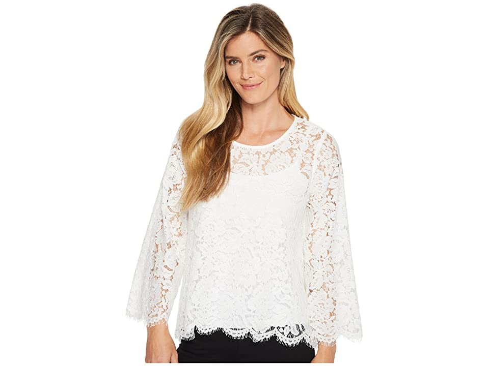 Karen Kane Flare Sleeve Scallop Lace Top (Off-White) Women