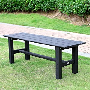 TECSPACE Aluminum Outdoor Patio Bench,35.4 x 14.2X 15.7 inches,Light Weight High Load-Bearing,Outdoor Bench for Park Garden,Patio and Lounge