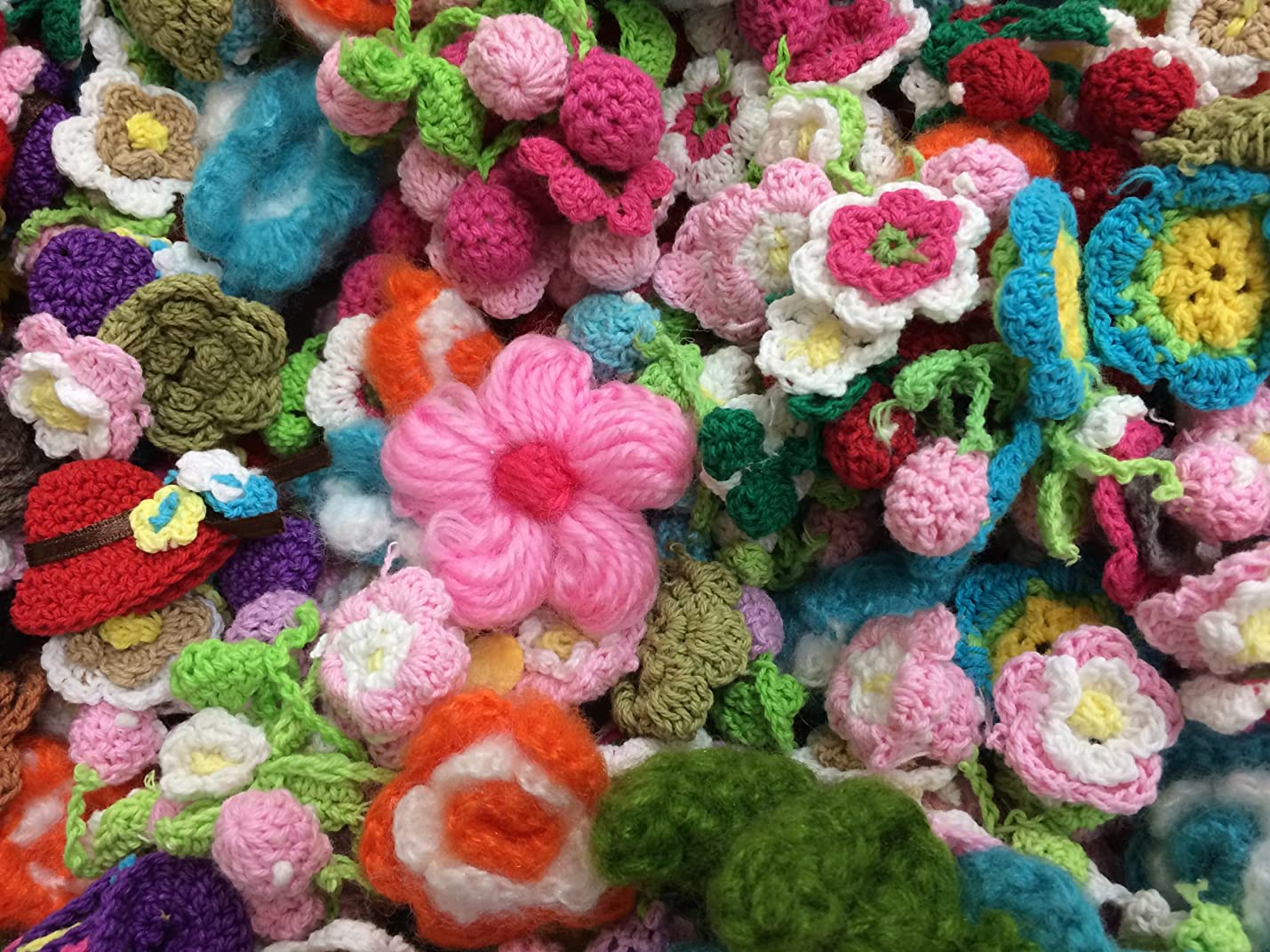 30pc Assorted Crocheted Flower Applique Embellishments [Office Product] uvtuxqultywmu302