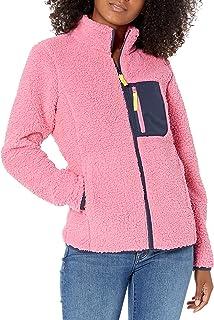 Amazon Essentials Women's Sherpa Long Sleeve Mock Neck Full-Zip Jacket with Woven Trim