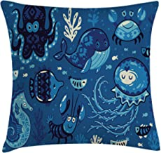 Ambesonne Ocean Throw Pillow Cushion Cover, Deep Sealife with Cartoon Style Animals Little Whale Fish Octopus and Moss Print, Decorative Square Accent Pillow Case, 16