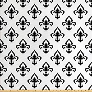Ambesonne Fleur De Lis Fabric by The Yard, Abstract Flower Pattern European Western Civilization Inspirations Baroque, Decorative Fabric for Upholstery and Home Accents, 2 Yards, Black and White