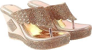 Do Bhai Women Synthtic Material Back Open Wedges Heel Weeding Heel Fashion Sandal (Fancy-042)