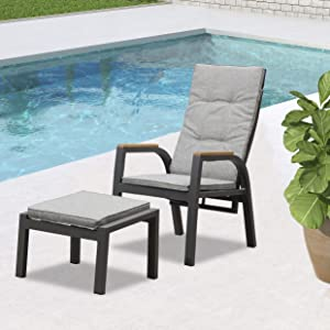 PURPLE LEAF Outdoor Reclining Chair Adjustable Outdoor Recliner with Cushions and Ottoman, Patio Recliner Aluminum Frame Patio Lounge Chair