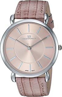 Women's Alma Stainless Steel Quartz Watch with Leather Strap, Pink, 19 (Model: OC2211)