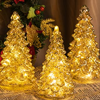 KI Store Mercury Glass Lighted Christmas Tree Figurine with Lights Set of 3 Battery Operated Christmas Decoration for Window Tabletop Mantel