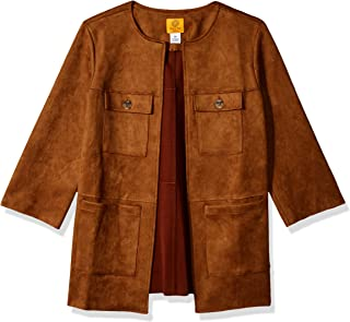 80fb86a5d5a Ruby Rd. Women s Petite Open-Front Heavy Stretch Suede Jacket with Patch  Pockets