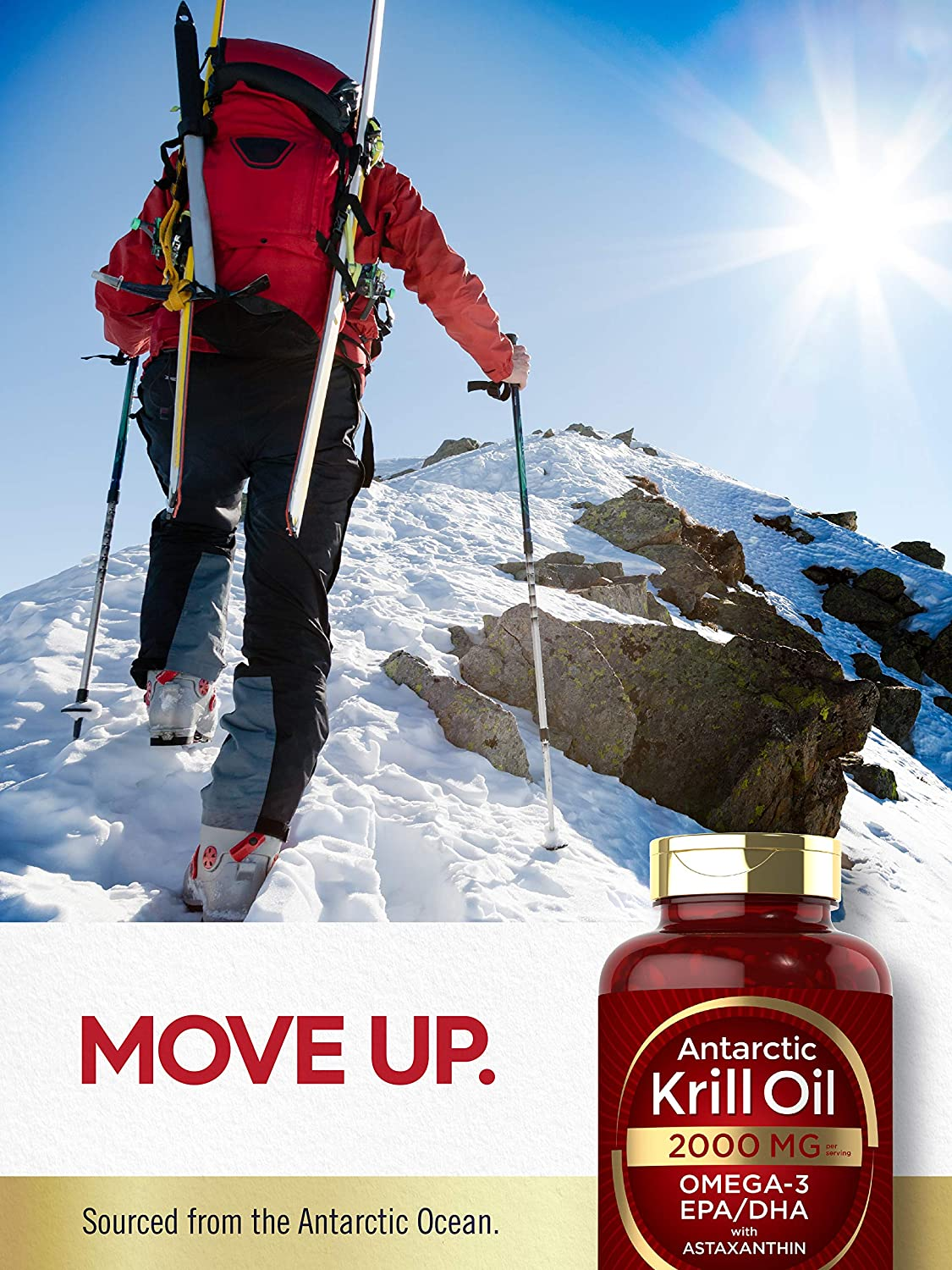 Antarctic Krill Oil 2000 mg 120 Softgels   Omega-3 EPA, DHA, with Astaxanthin Supplement Sourced from Red Krill   Maximum Strength   Laboratory Tested