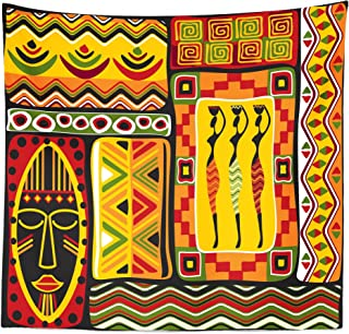 Lunarable African Tapestry Queen Size, Elements Historical Original Striped and Rectangle Shapes Design, Wall Hanging Bedspread Bed Cover Wall Decor, 88