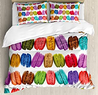 Ambesonne Colorful Duvet Cover Set, French Macarons in a Row Coffee Shop Cookies Flavours Pastry Bakery Food Design, Decorative 3 Piece Bedding Set with 2 Pillow Shams, Queen Size, White