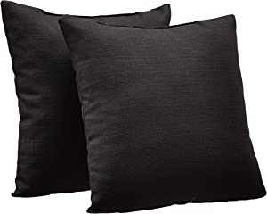 "AmazonBasics 2-Pack Textured Weave Decorative Throw Pillows - 18"" Square, Black"