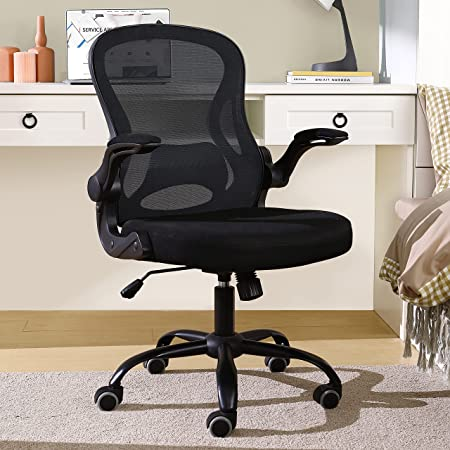 BERLMAN Ergonomic Mid Back Mesh Office Chair Desk Chair with Flip-up Arms