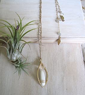 Teardrop pendandt necklace with woven 14k gold fill or sterling silver with gemstone choices