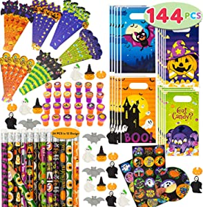 JOYIN 144 Pieces 24 Pack Assorted Halloween Themed Stationery Kids Gift Set Trick Treat Price Party Favor Toy Including Halloween Pencils, Rulers, Stickers, Stamps and Erasers in Trick or Treat Bags