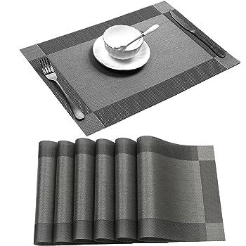 U'Artlines Placemat, Crossweave Woven Vinyl Non-Slip Insulation Placemat Washable Table Mats Set of 6 (6pcs placemats, Grey)