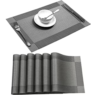 U'Artlines Placemat, Crossweave Woven Vinyl Non-Slip Insulation Placemat Washable..