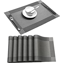 Placemat,U'Artlines Crossweave Woven Vinyl Non-Slip Insulation Placemat Washable Table Mats (6pcs placemats, Gray)