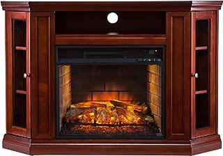 Southern Enterprises Corner Media Infrared Fireplace, Brown Mahogany Finish