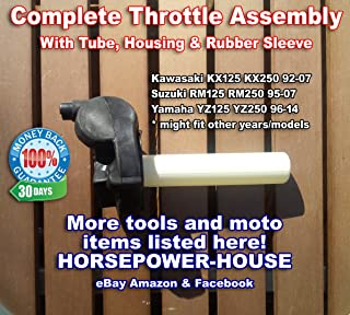 Complete Throttle Assembly Kit with Tube and Housing and Rubber Sleeve for Yamaha 96-19 Yamaha YZ YZ125 YZ250 2-stroke Motocross Dirtbike Motorcycle and others
