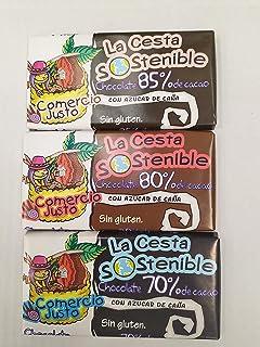 15 UNIDADES DE 100 GRS.CHOCOLATE CESTA SOSTENIBLE DE COMERCIO JUSTO ALTA GRADUACION DE CACAO. 5 UNIDADES DE85%,5 DE 80% Y 5 DE 70% DE CACAO .