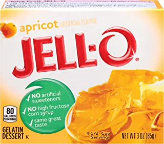 JELL-O Apricot Gelatin Dessert Mix (3 oz Boxes, Pack of 6)