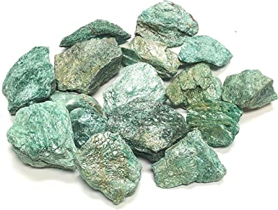 Zentron Crystal Collection: Natural Rough Fuchsite Stones Large Natural Rough Bulk Raw Stones for Tumbling, Wire Wrapping, Polishing, Wicca and Reiki (1/2 Pound)
