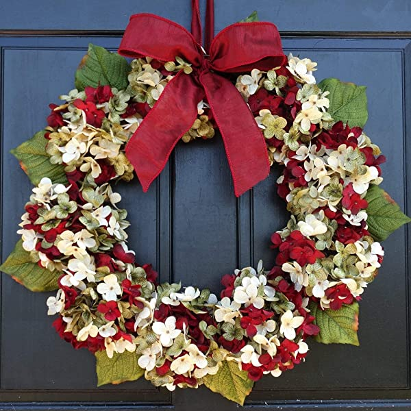 Burgundy Red Cream Off White And Green Marbled Hydrangea Christmas Wreath For Holiday Front Door Decor