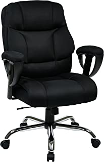 Office Star Executive Big Man's Chair with Padded Mesh Contour Seat and Back, Adjustable Padded Arms, and Chrome Finish Base, Black