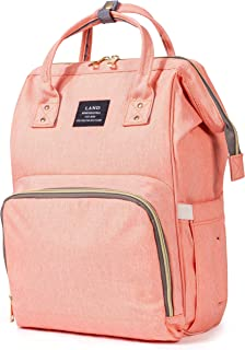 Diaper Backpack, Large Capacity Baby Bag, Multi-Function Travel Backpack Nappy Bags, Nursing Bag, Fashion Mummy, Roomy Waterproof for Baby Care, Stylish and Durable by Jewelvwatchro (Pink)