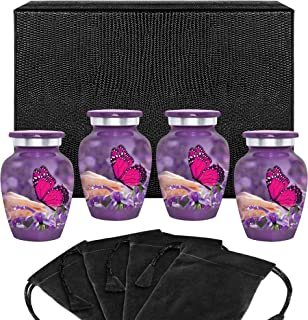 Trupoint Memorials Mystic Butterfly Small Keepsake Urns for Human Ashes -Set of 4 - Beautiful Keepsake Sharing Tokens to R...
